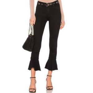 Mother Cha Cha Fray Black Peplum Flare Jeans